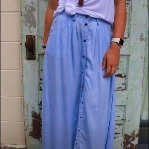 Dresses & Skirts - Chambray snap button closure maxi skirt